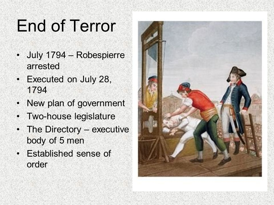 End of Terror July 1794 – Robespierre arrested