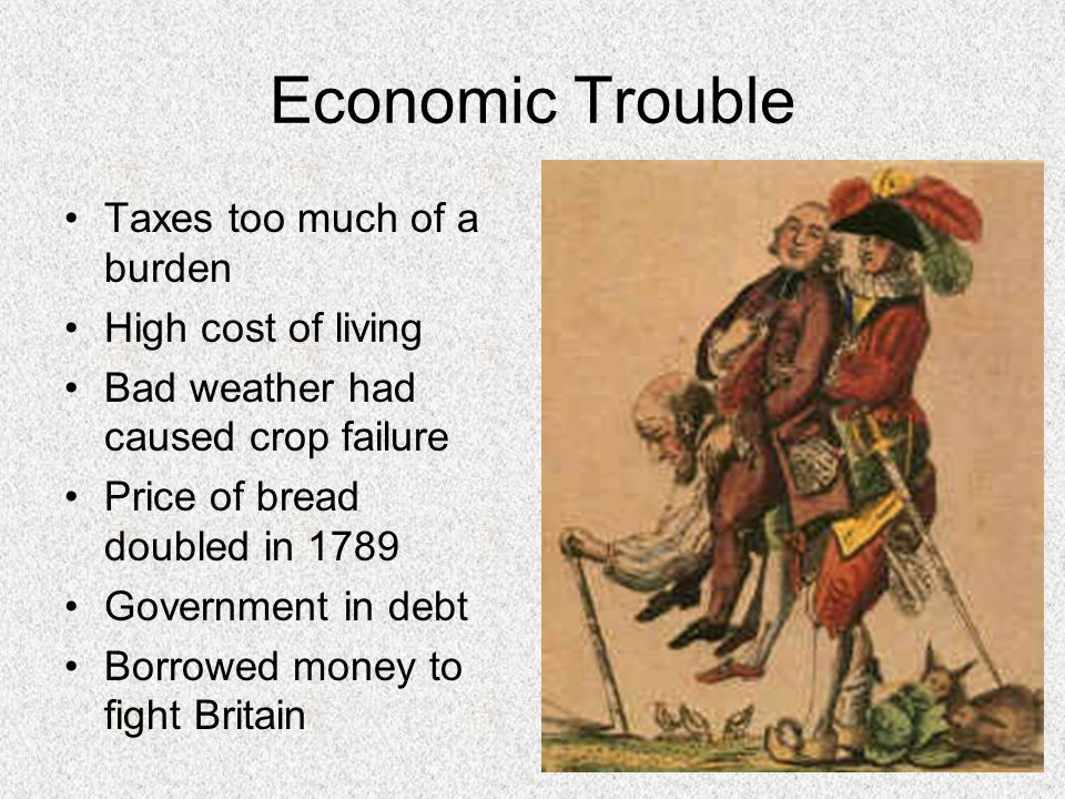 Economic Trouble Taxes too much of a burden High cost of living
