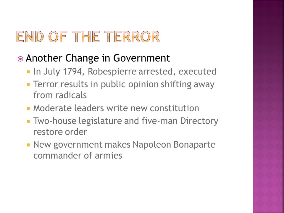 End of the terror Another Change in Government