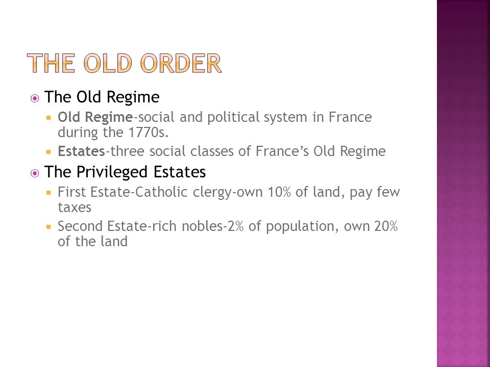 The Old Order The Old Regime The Privileged Estates