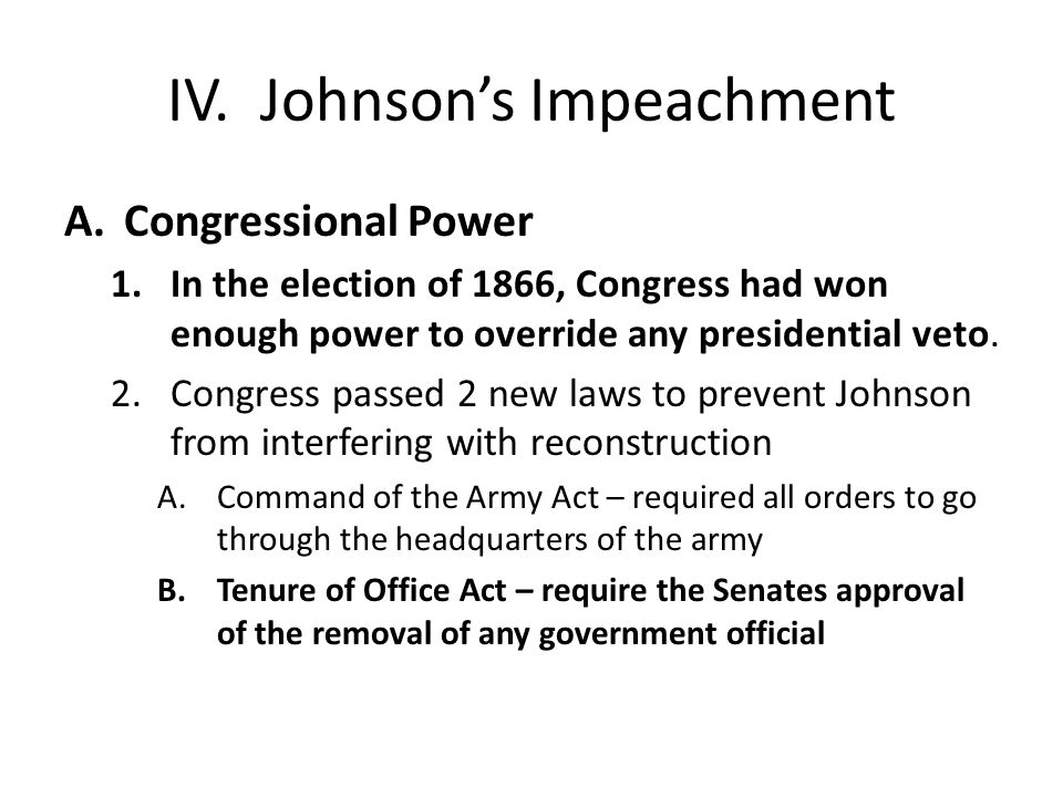 IV. Johnson's Impeachment