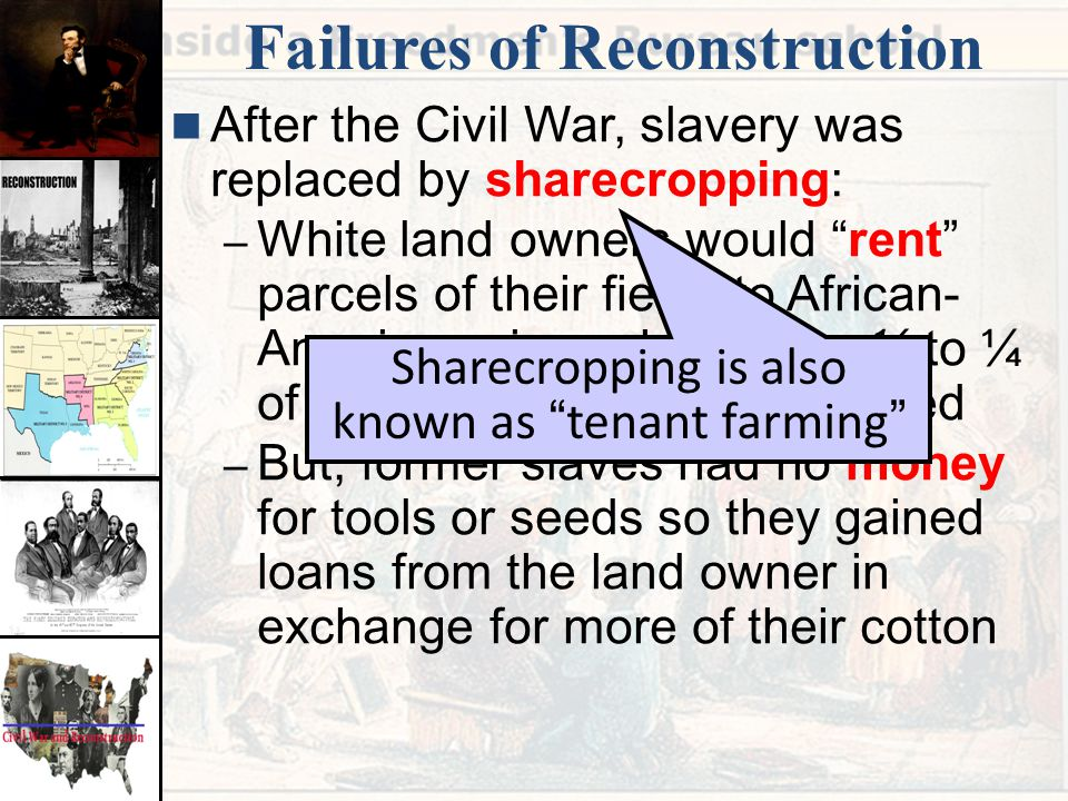 why was the reconstruction a failure