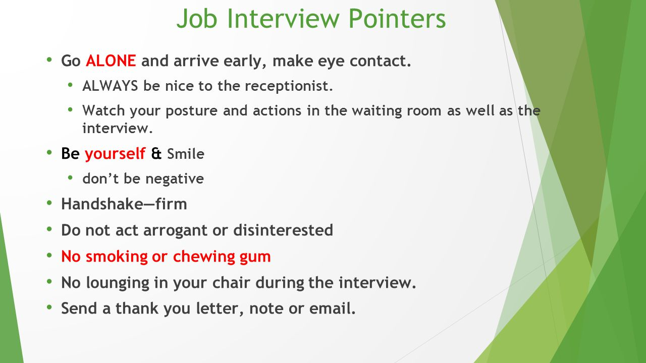 Job Interview Pointers
