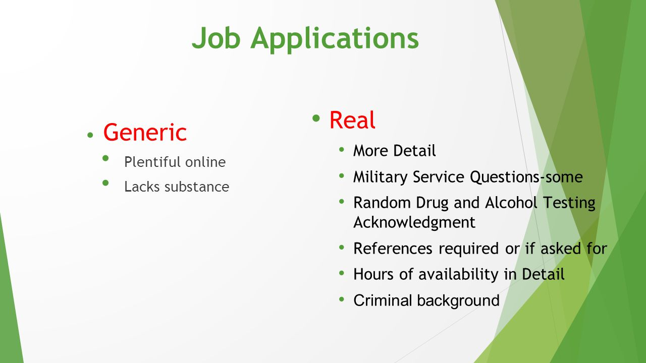 Job Applications Real Generic More Detail