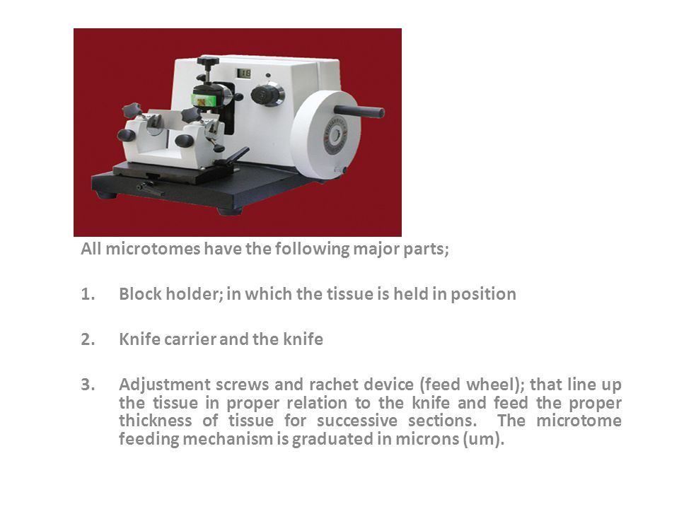 all microtomes have the following major parts