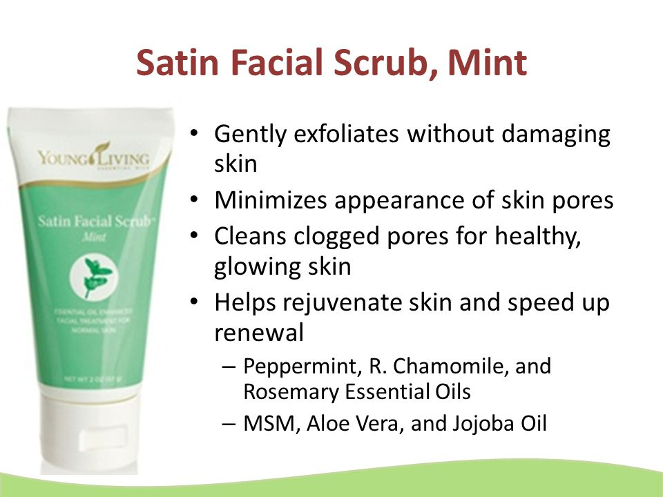 facial scrub living mint Young essential oil