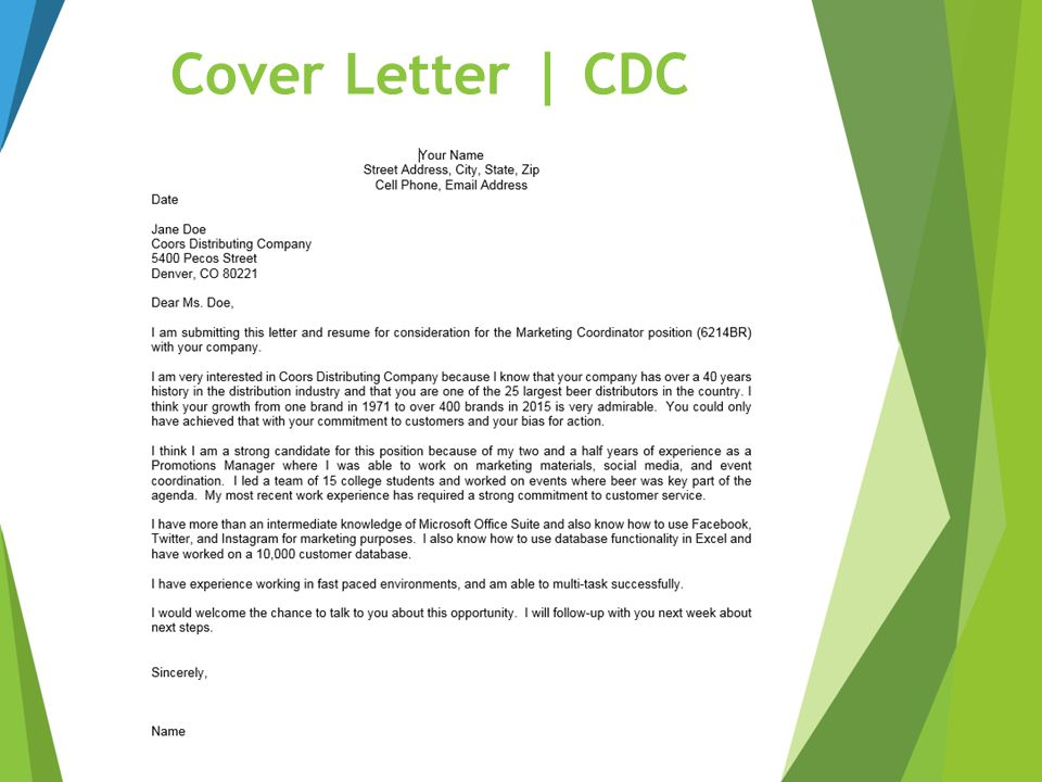 73 Cover Letter | CDC