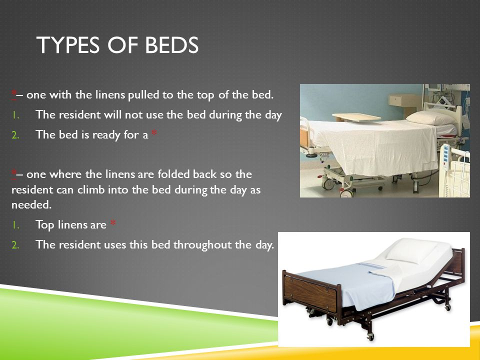 Types of beds *– one with the linens pulled to the top of the bed.