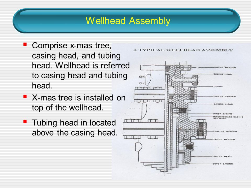 Wellhead Assembly Comprise x-mas tree, casing head, and tubing head. Wellhead is referred to casing head and tubing head.