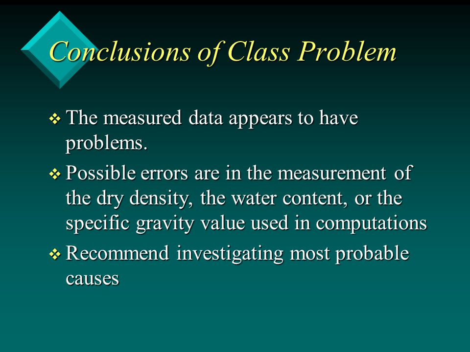 Conclusions of Class Problem