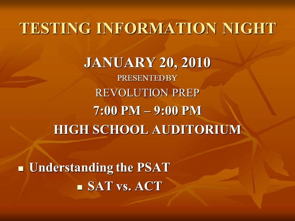 TESTING INFORMATION NIGHT