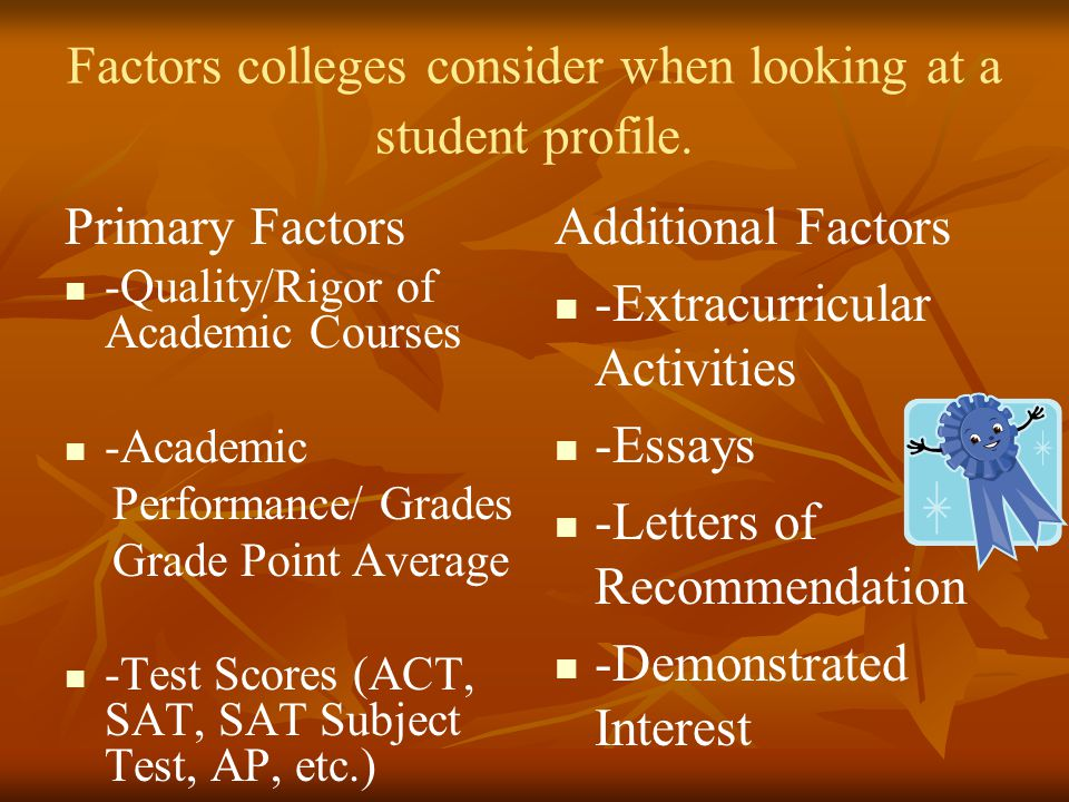 Factors colleges consider when looking at a student profile.