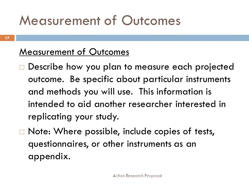 Action Research Proposal Measurement Of Outcomes