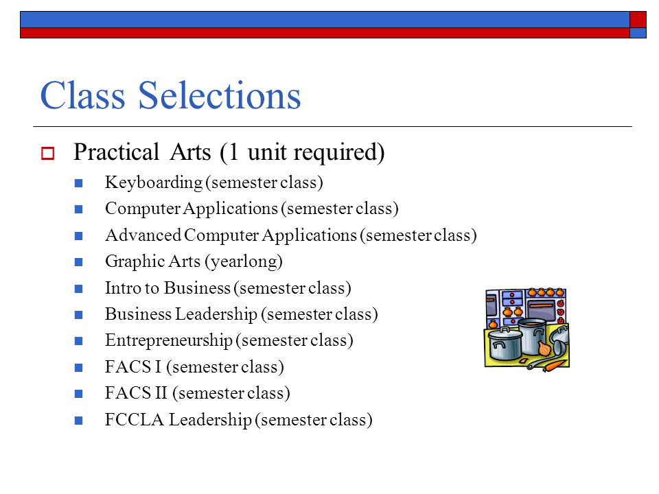 Class Selections Practical Arts (1 unit required)