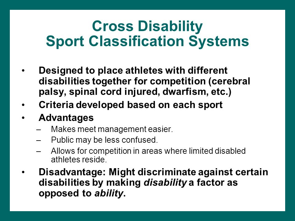 Disability sport classification