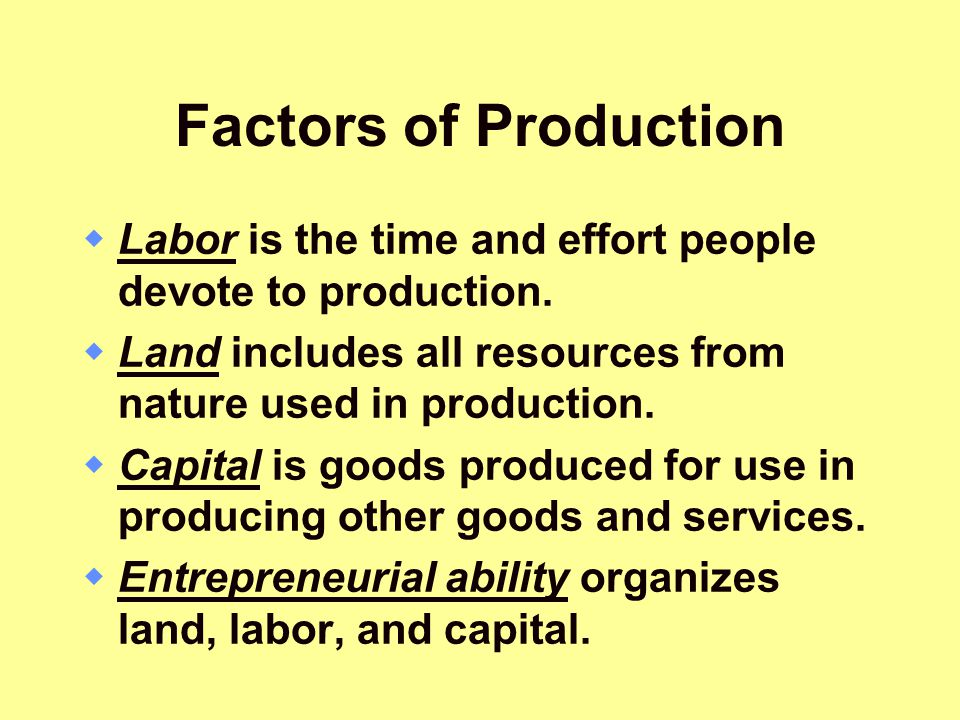 Factors of Production Labor is the time and effort people devote to production. Land includes all resources from nature used in production.