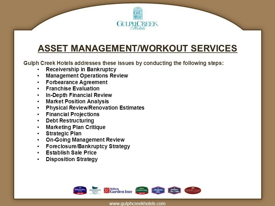 ASSET MANAGEMENT/WORKOUT SERVICES