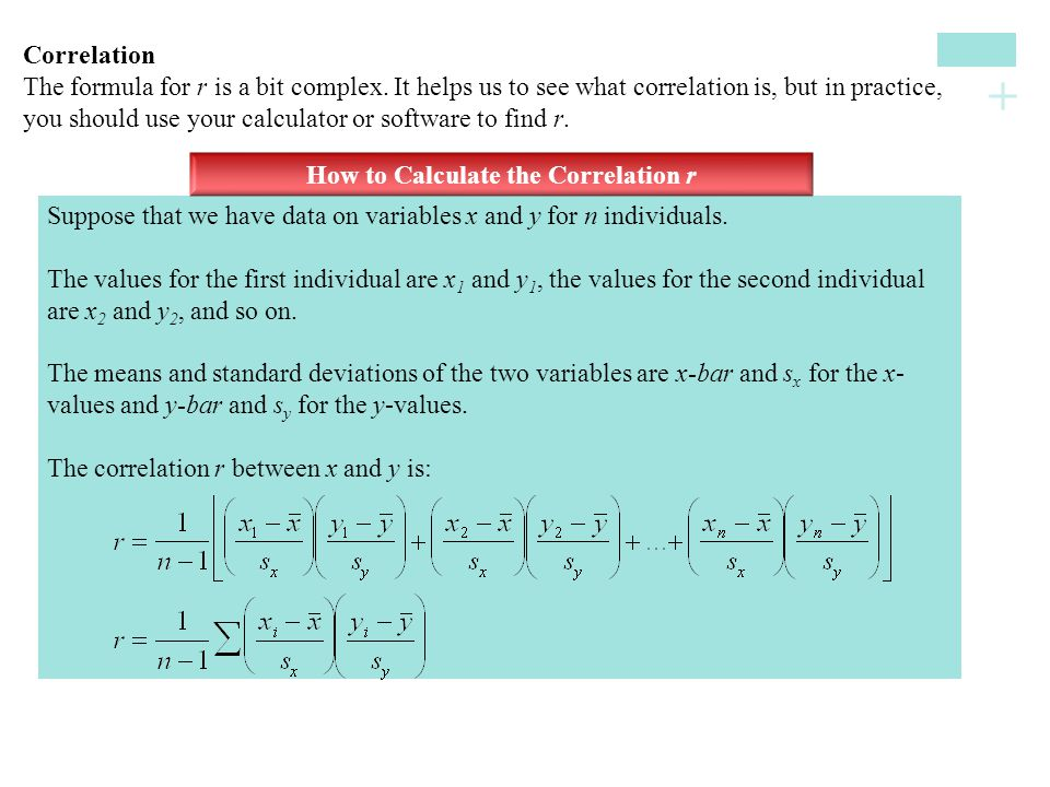 How to Calculate the Correlation r