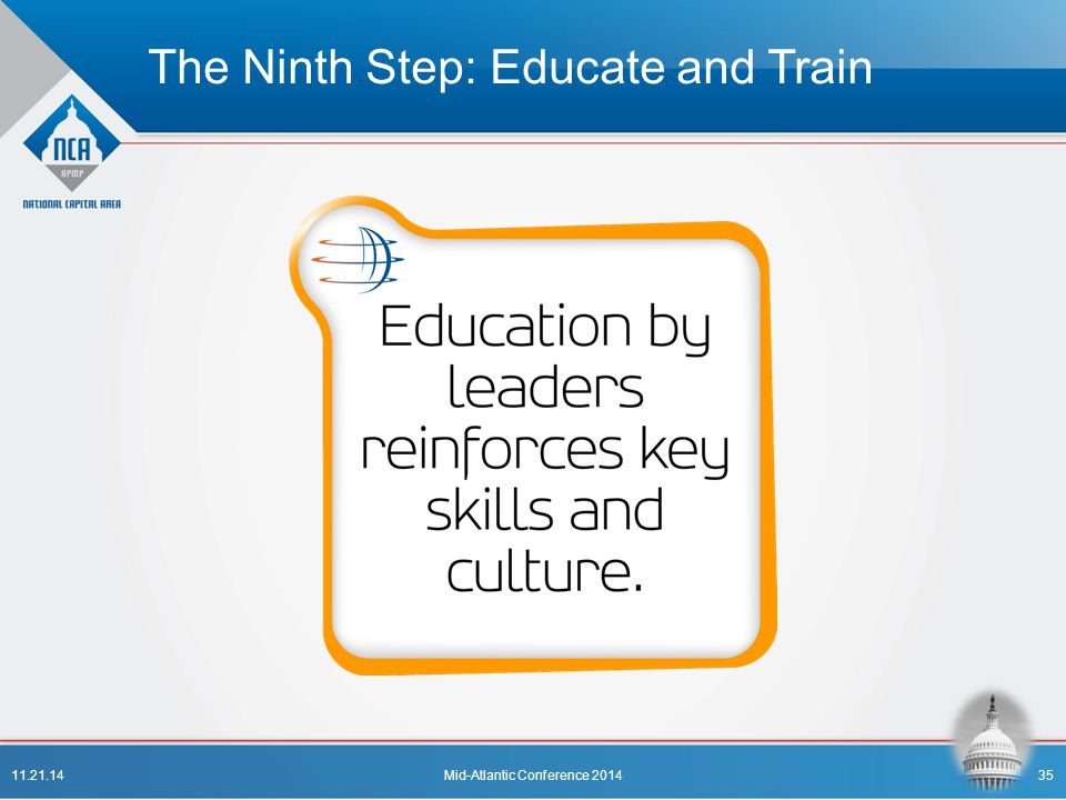 The Ninth Step: Educate and Train