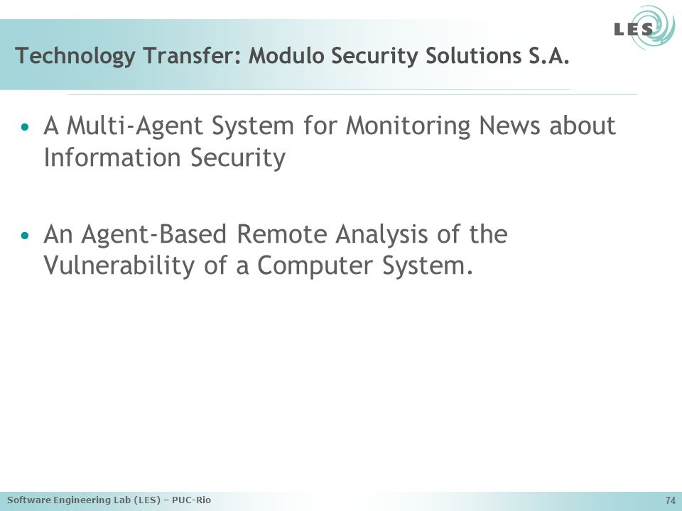 Technology Transfer: Modulo Security Solutions S.A.