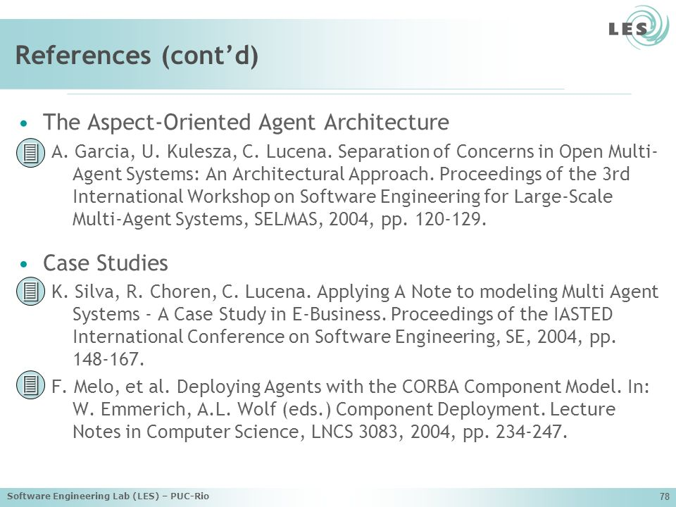 References (cont'd)    The Aspect-Oriented Agent Architecture