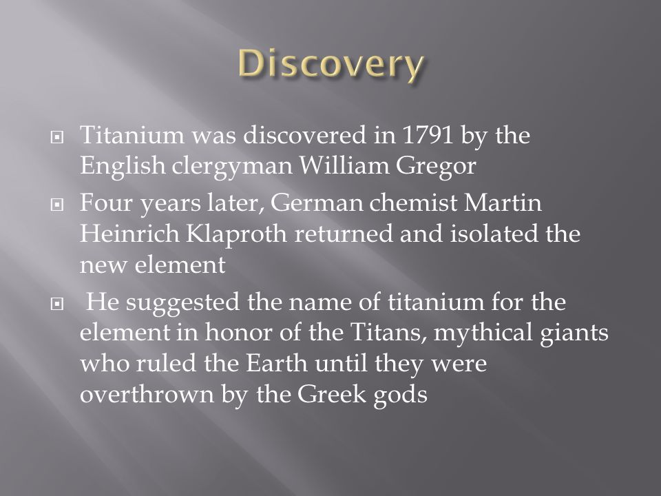 an analysis of william gregor discovering unknowingly in 1791 Titanium's discovery was announced in 1791 by the amateur geologist reverend william gregor from cornwall, england (1), (2) gregor found a black, magnetic sand that looked like gunpowder in a stream in the parish of mannacan in cornwall, england.