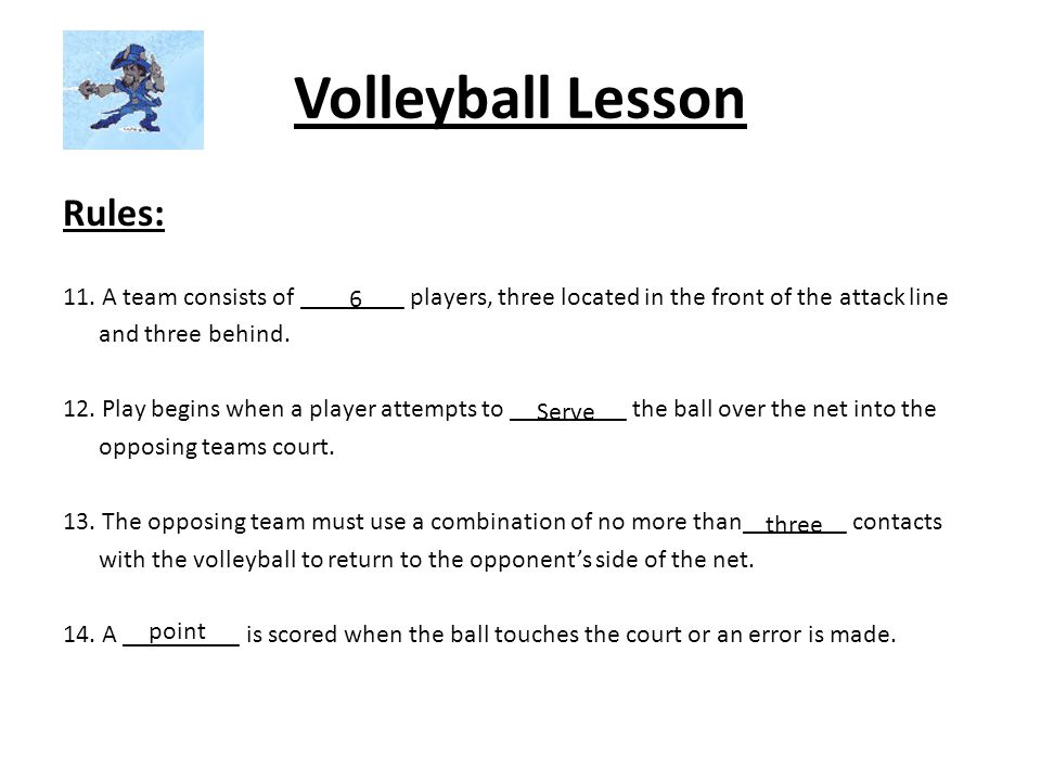 Volleyball Lesson Rules: