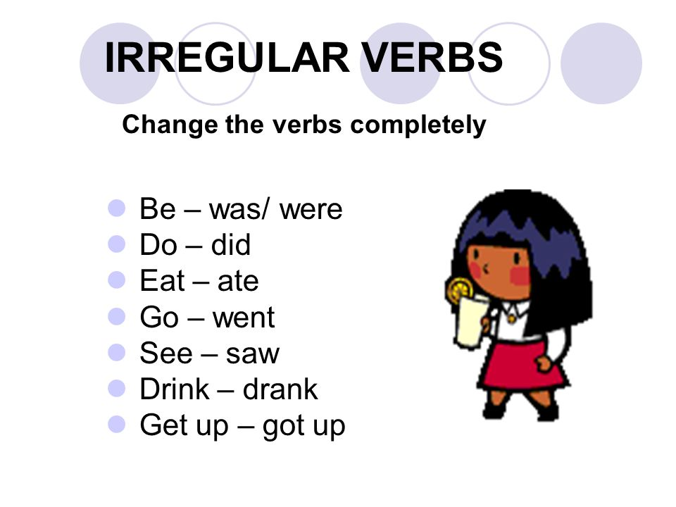 IRREGULAR VERBS Change the verbs completely