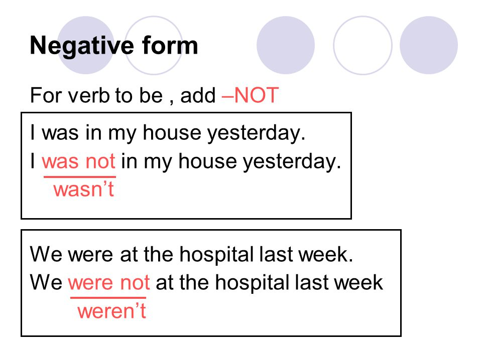 Negative form For verb to be , add –NOT I was in my house yesterday.