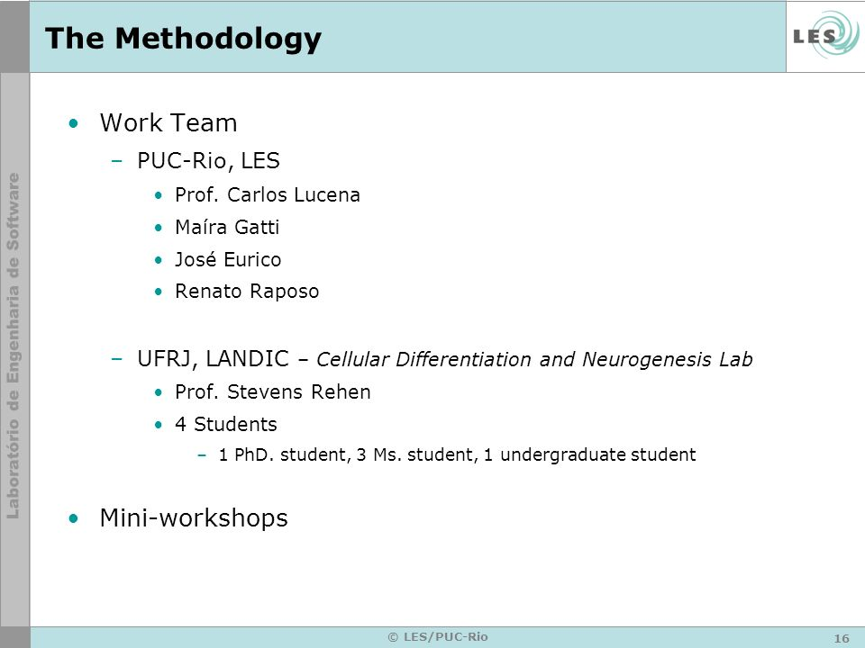 The Methodology Work Team Mini-workshops PUC-Rio, LES