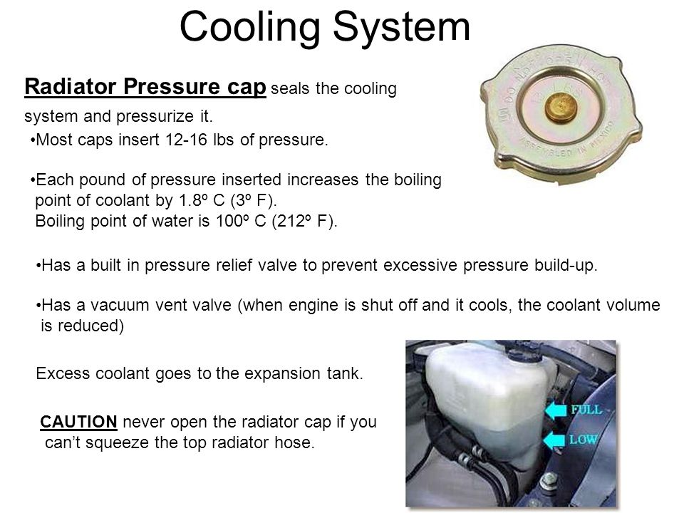 Cooling System Radiator Pressure cap seals the cooling