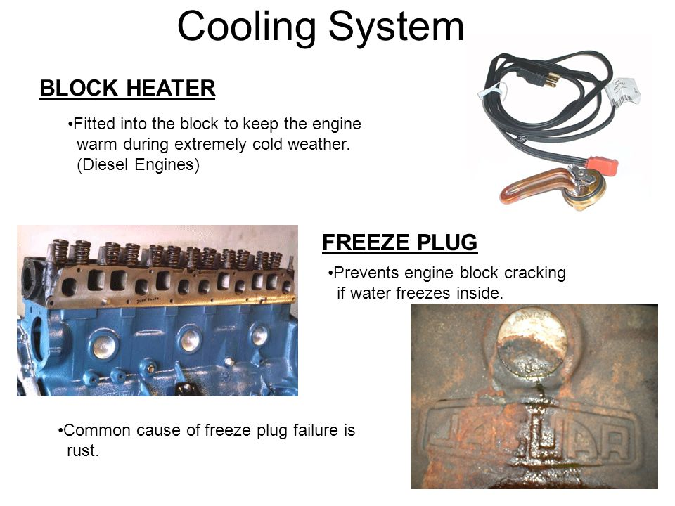 Cooling System BLOCK HEATER FREEZE PLUG