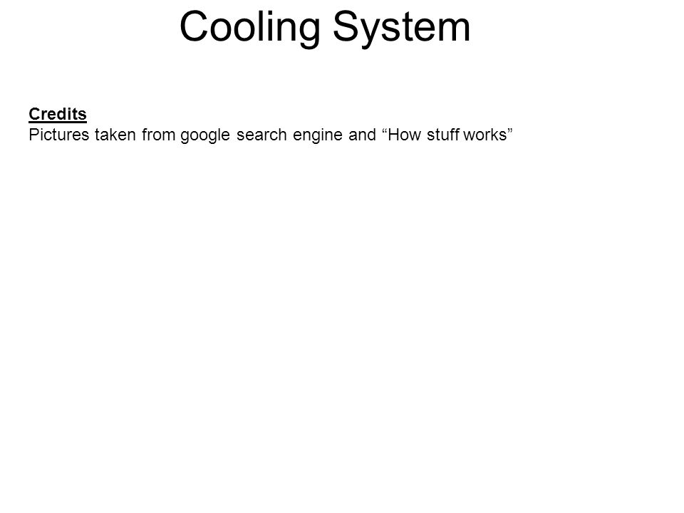 Cooling System Credits