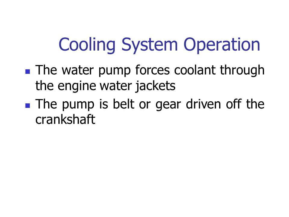 Cooling System Operation