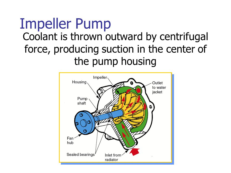 Impeller Pump Coolant is thrown outward by centrifugal force, producing suction in the center of the pump housing.