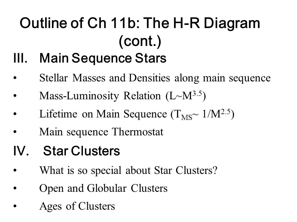 Outline Of Ch 11b The H R Diagram Ppt Video Online Download