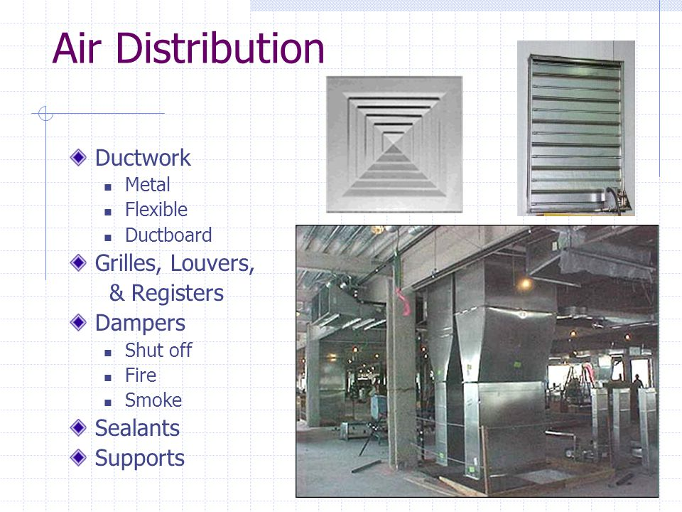 Air Distribution Ductwork Grilles, Louvers, & Registers Dampers