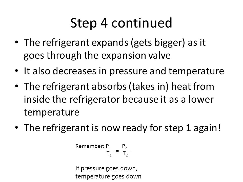 Step 4 continued The refrigerant expands (gets bigger) as it goes through the expansion valve. It also decreases in pressure and temperature.