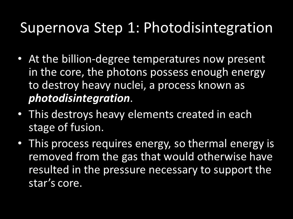 Supernova Step 1: Photodisintegration
