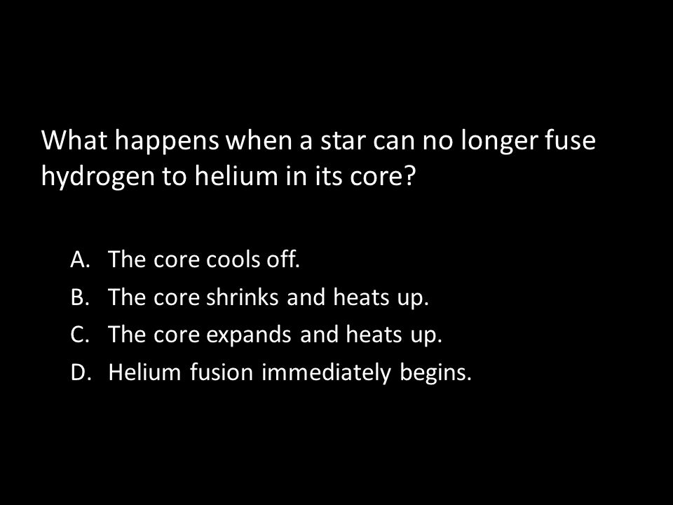 What happens when a star can no longer fuse hydrogen to helium in its core