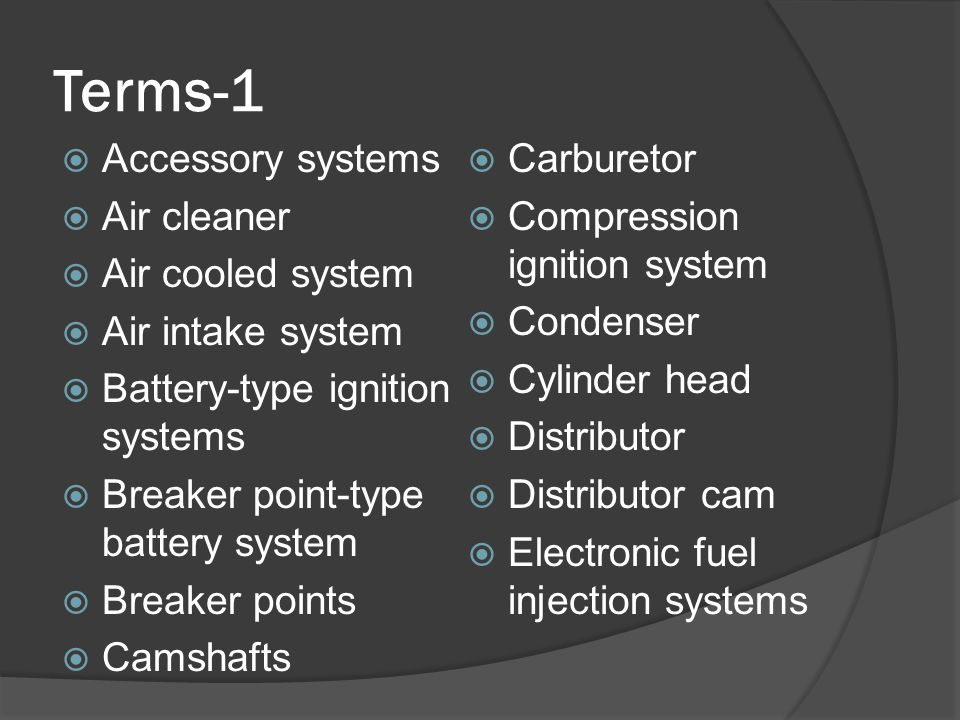 Terms-1 Accessory systems Carburetor Air cleaner