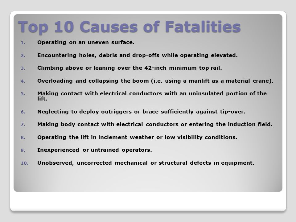 Top 10 Causes of Fatalities