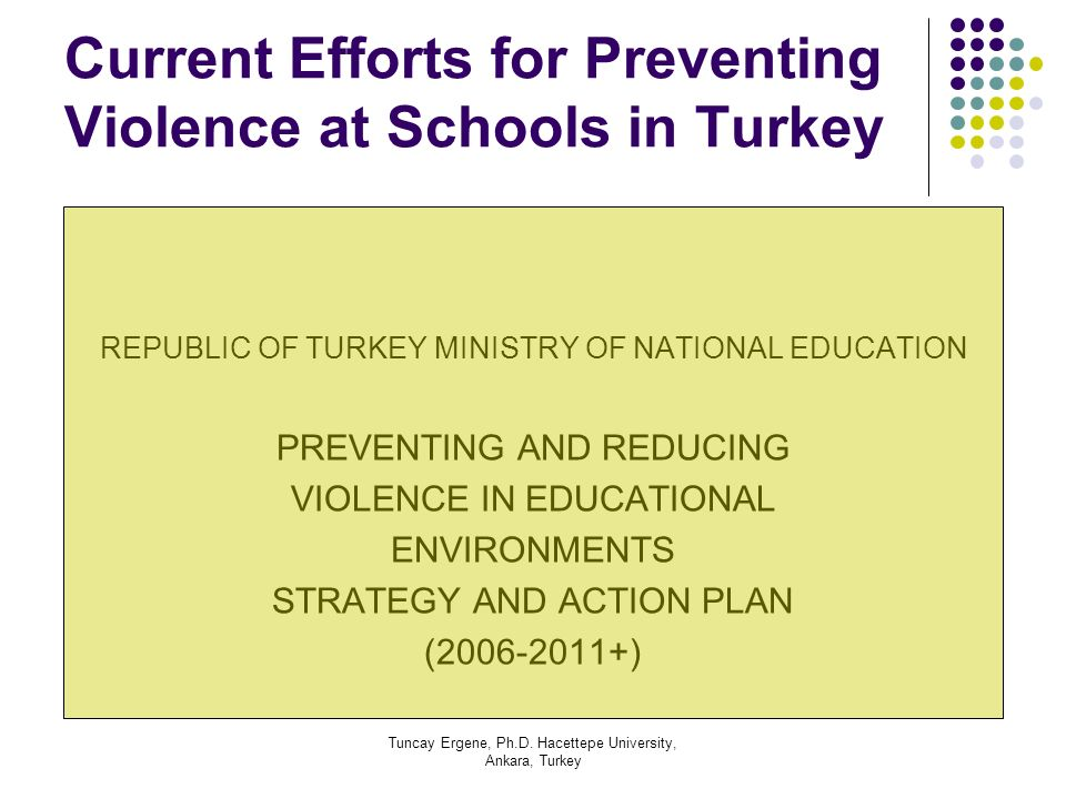 Current Efforts for Preventing Violence at Schools in Turkey
