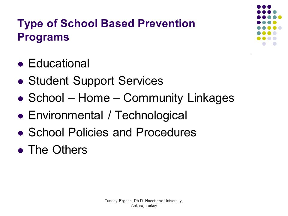 Type of School Based Prevention Programs