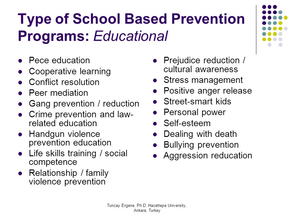 Type of School Based Prevention Programs: Educational