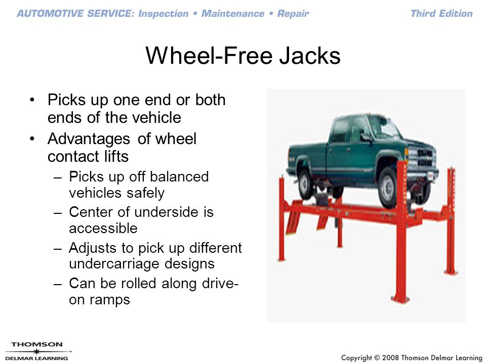 Wheel-Free Jacks Picks up one end or both ends of the vehicle