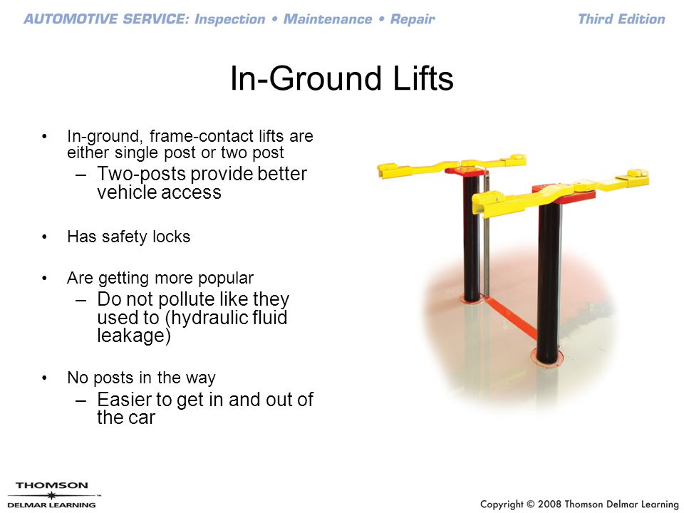 In-Ground Lifts Two-posts provide better vehicle access