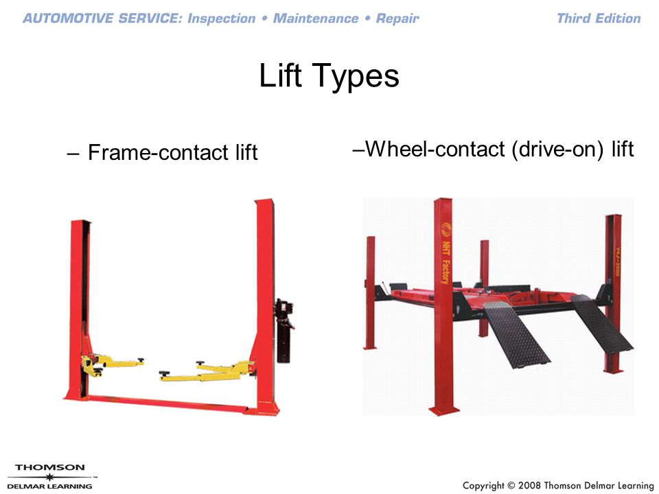 Lift Types Frame-contact lift Wheel-contact (drive-on) lift