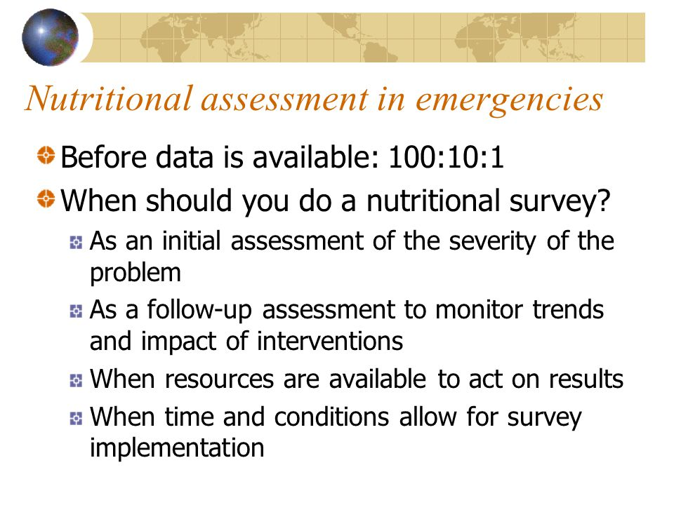 Nutritional assessment in emergencies
