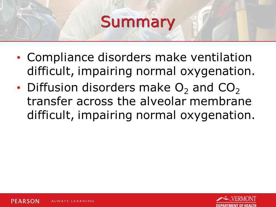 Summary Compliance disorders make ventilation difficult, impairing normal oxygenation.
